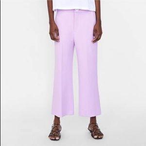 Zara Lavender Pants Cropped Wide Leg // Size Large